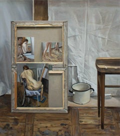 Still Life with Sketches- Atelier Contemporary Figurative Oil Realistic painting