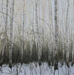 A Disapearing Forest  - Contemporary Figurative Oil Landscape painting