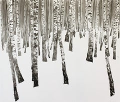 A Winter Forest III- Contemporary Figurative Ink Landscape painting