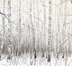 A Winter Forest II- Contemporary Figurative Ink Landscape painting