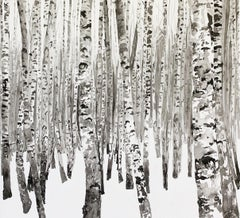 A Winter Forest I- Contemporary Figurative Ink Landscape painting