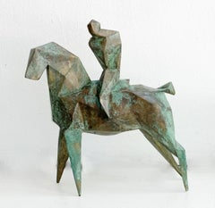 Veni, vidi, vici - Contemporary cubistic bronze sculpture, Horse, Rider