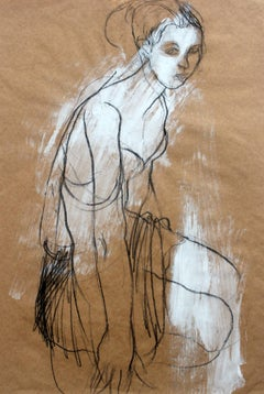 Nude - XXI Century, Contemporary Goache and Charcoal Figurative Drawing, Female