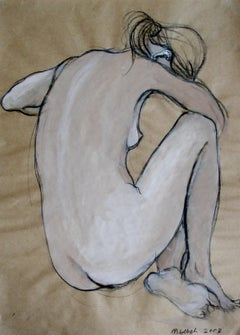 Nude - XXI Century, Gouache and Charcoal Figurative Drawing, Black and White