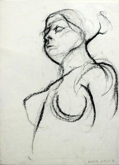 Nude - XXI Century, Contemporary Charcoal Figurative Drawing, Female Portrait