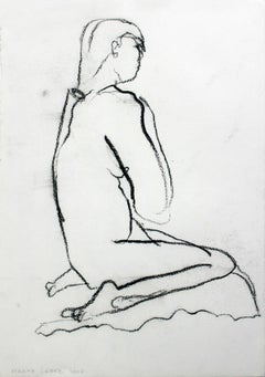 Nude - XXI Century, Contemporary Charcoal Figurative Drawing, Sitting Female
