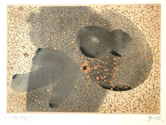 Big bang 1 - Contemporary Abstraction Mixed Media Artwork, Monochromatic
