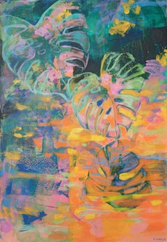 Pond in paradise garden - 21 Century, Contemporary Abstract, Colorful, Vibrant