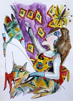 Some Turkish, again! - Figurative watercolor drawing, vibrant colors
