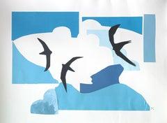 Swifts - Papercut & gouache artwork, Colorful Animal, Fairy tale, Figurative