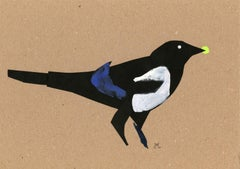 Magpie - Papercut & gouache artwork, Colorful Animal, Fairy tale, Figurative
