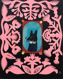 A wolf - Papercut & gouache artwork, Colorful Animal, Fairy tale, Figurative
