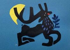 A deer - Papercut & gouache artwork, Colorful Animal, Fairy tale, Figurative
