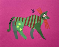 Cat with a dragonfly - Papercut & gouache artwork, Colorful Animal, Figurative