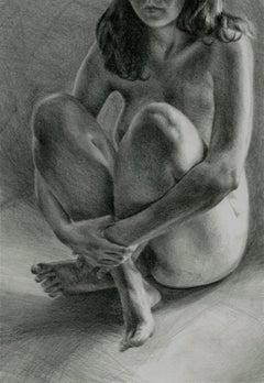 Draft 4 - Polish Young Art, Realism, Drawing, Woman, Monochromatic