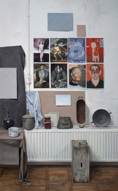 Still life with reproductions -  Figurative Oil Realistic painting, Interior