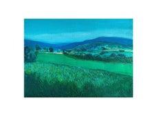 Emerald field - Contemporary oil painting, Vibrant colors, Landscape