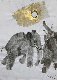 Elephants - Contemporary art, Figurative drawing, Animals, Classics, Earth tones
