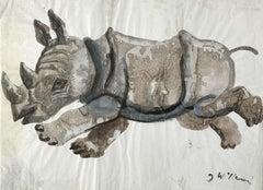 Rhino - Contemporary art, Figurative drawing, Animals, Classics, Earth tones