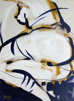 Nude - XXI Century, Contemporary Figurative Gouache Painting, Bright Colors