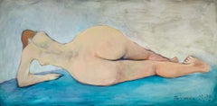 Fascination - Oil figurative painting, Female nude, Blue, Horizontal