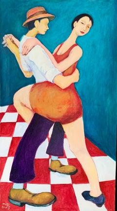 Tango - Oil figurative painting, Dance, Colorful, Vibrant, A couple