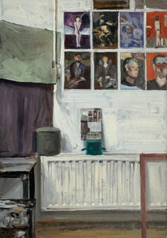 Still life with reproductions 2 -  Figurative Oil Realistic painting, Interior