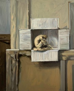 A model -  Figurative Oil Realistic painting, Interior, Nude