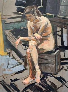 Nude. A sitter -  Figurative Oil Realistic painting, Interior, Female