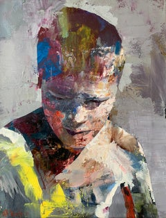 Boy taking out a splinter - Contemporary oil painting, Colorful, Figurative