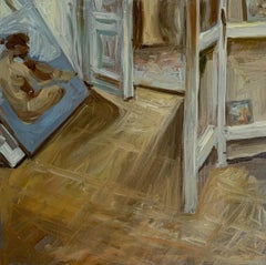 A workshop, a nude  -  Figurative Oil Realistic painting, Interior, Warm tones