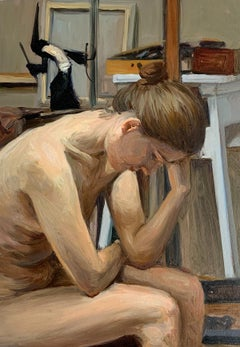 A sitter 3 - Figurative Oil Realistic painting, Young artist, Female nude