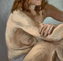 Nude - Figurative Oil Realistic painting, Young artist, Female