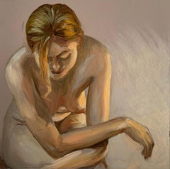 A light - Figurative Oil Realistic painting, Young artist, Female nude