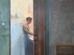 A wash - Contemporary tempera painting, Young art, Realism, Interior, Female