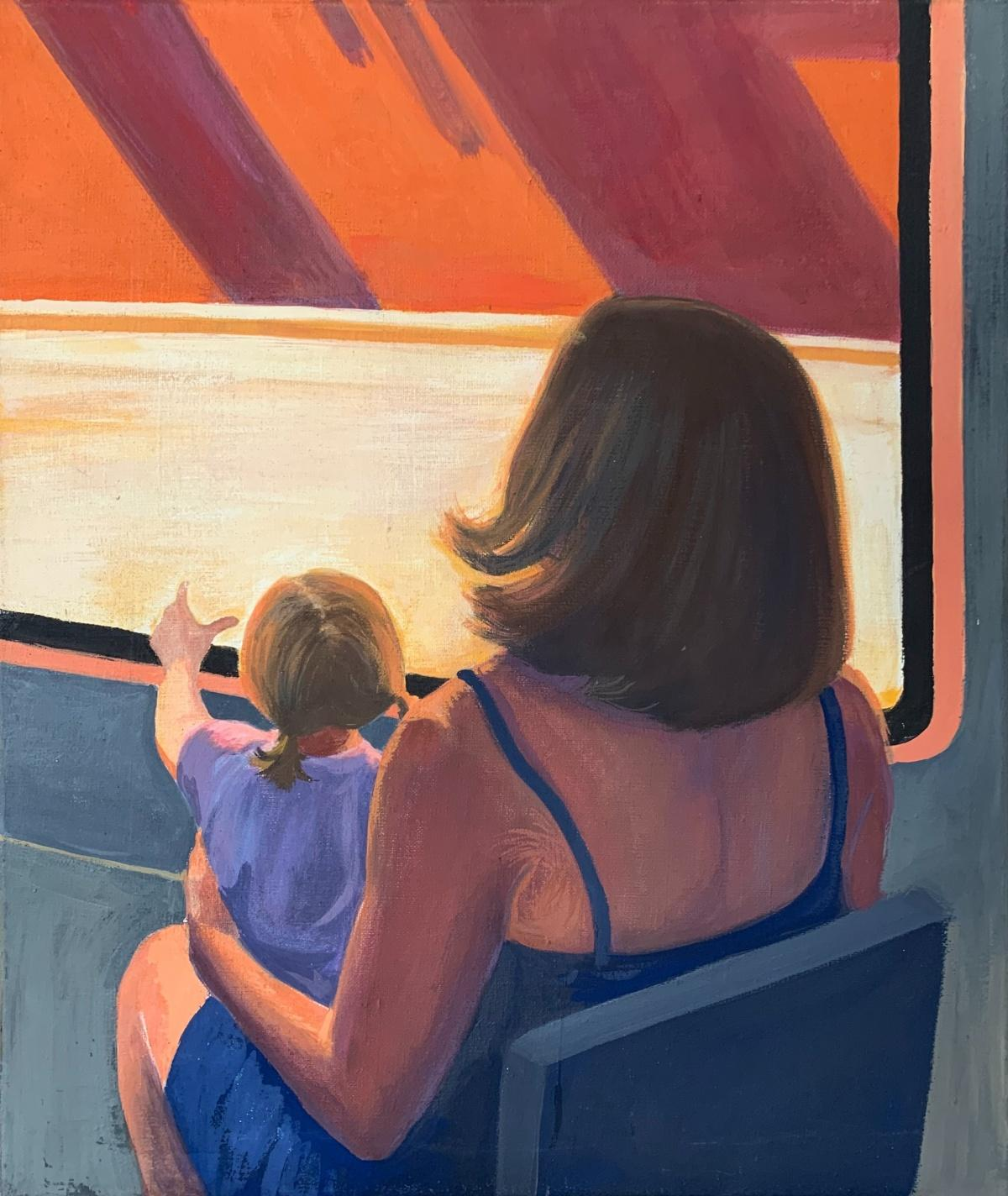 A journey - Contemporary tempera painting, Young art, Realism, Warm colors
