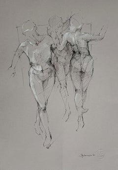 Nude - Contemporary Mixed Media Drawing, Black and White, Figurative