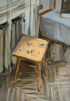 A stool - Figurative Oil Realistic painting, Young artist, Interior