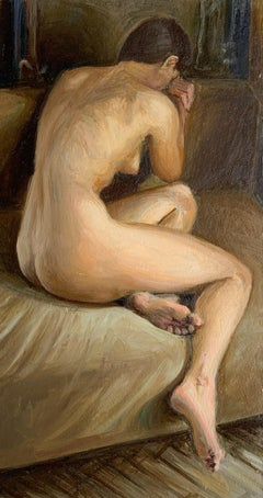 A nude - Figurative Oil Realistic painting, Young artist, Female, Warm tones