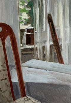 A mirror - Figurative Oil Realistic painting, Young artist, Interior