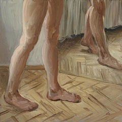 A mirror 3 - Figurative Oil Realistic painting, Young artist, Warm tones