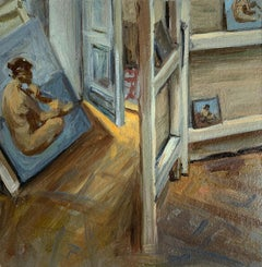 An atelier - Figurative Oil Realistic painting, Young artist, Interior
