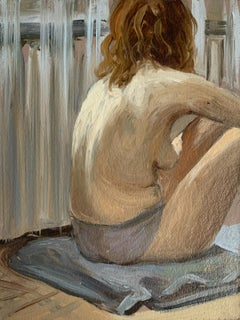 A sitting one - Figurative Oil Realistic painting, Young artist, Female nude