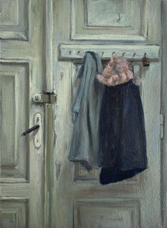 Exit - Figurative Oil Realistic painting, Young artist, Interior, Small scale