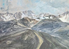 A landscape - Figurative Realistic painting, Mountain view, gouache
