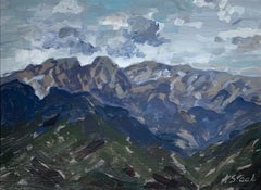 A landscape - Figurative Realistic painting, Mountain view, Oil