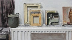 On a heater - Figurative Oil Realistic painting, Young artist, Interior