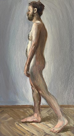 A walking one - Figurative Oil Realistic painting, Young artist, Male nude