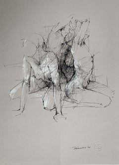 Nude -  Contemporary Mixed Media Drawing, Figurative, Subtle, Sketchy style