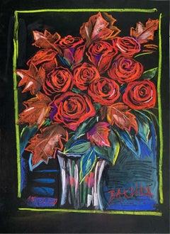 Antivirus flowers - Figurative Pastel Drawing, Colorgul, Vibrant, Still life